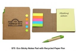 S75 Eco Sticky Notepad with Recycled Paper Pen