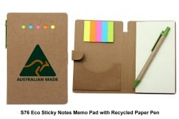 S76 Eco Sticky Notes Memo Pad with Recycled Paper Pen