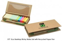 S77  Desktop Sticky Notes set with Recycled Paper Pen