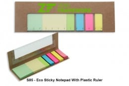 S85 Eco Sticky Notepad With Plastic Ruler