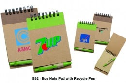 S92_Eco Note Pad with Recycled Paper Pen