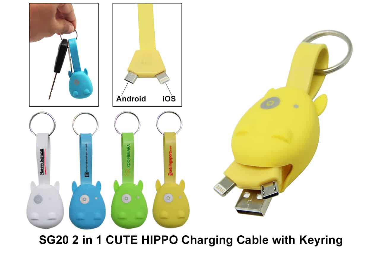Corporate Door Gift: 2 In 1 IPhone & Android Charging Cable With Keyring