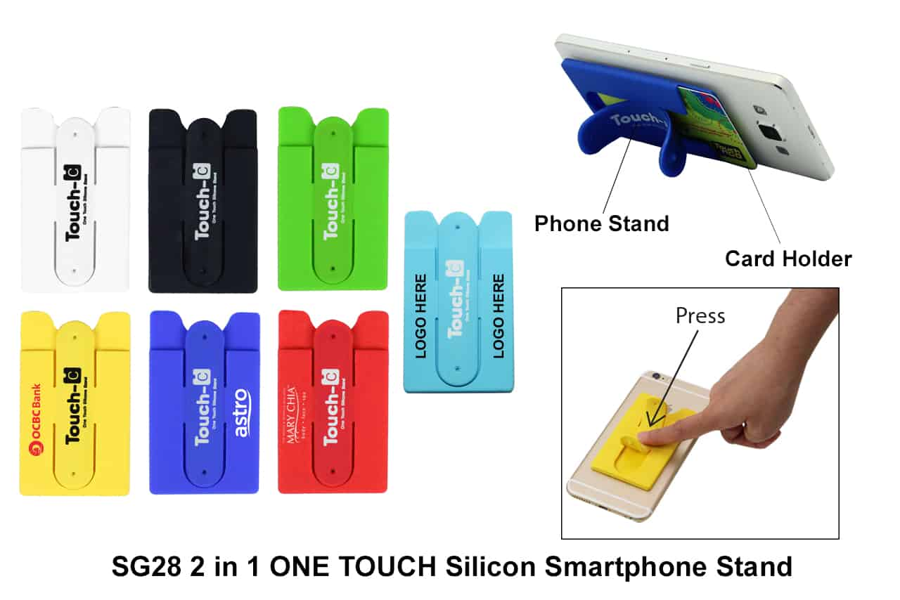 Corporate Door Gift: 2 In 1 ONE TOUCH Silicon Smartphone Stand
